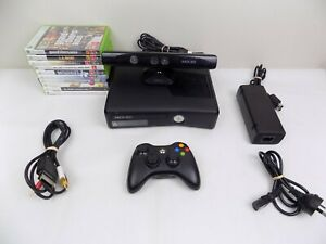 Like New Xbox 360 Slim Console 250gb + Controller + 10x Games + Kinect Camera