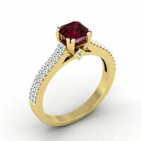 Cushion Cut 0.71 Ct Diamond Real Gemstone Ruby Ring 14K Yellow Gold Rings Size M