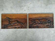 2 panneaux sculpté bois art déco chasse fauve cervide