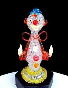 Cristal Main Tissage Soufflé Multicolore Vintage 15.9cm Clown Figurine