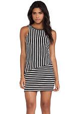 Sanctuary Womens Size Small Gray White Striped Zip Back Sleeveless Tunic Mini