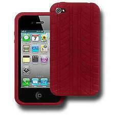 Premium Durable Shock Resistant Red Silicone Skin Case Back Cover for iPhone 4