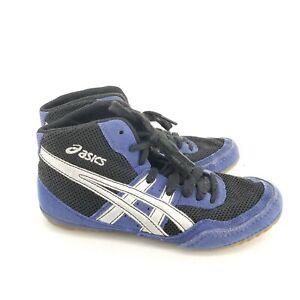 B1 ASICS Kids Matflex C921Y GS Wrestling Shoes BLUE/BLACK/SILVER Size 3