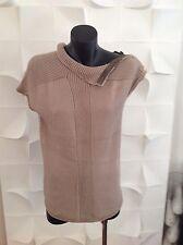 Max&Co Beige Casual Elegant  Cotton Knit Short Sleeve Top Size L
