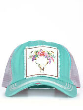 NEW WOMENS MINT CREAM BULL SCULL PATCH  SOUTHERN JUNKIE HAT