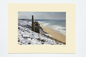 """7x5"""", A4 or A3 photograph mounted or framed of snow at Wheal Coates in Cornwall."""