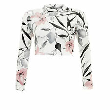 WOMENS LADIES FLORAL PRINT LONG SLEEVE POLO TURTLE NECK STRETCH SHORT CROP TOP