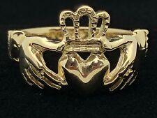 14k Yellow Gold Solid Claddagh Irish Ring Love Friendship Size 7.75
