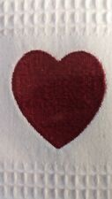 Williams Sonoma Valentines HEART Love Towel waffle weave embroidered red & white