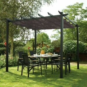 Latina Canopy Aluminium Gunmetal Grey  3m x 3m Garden Shelter Freestanding