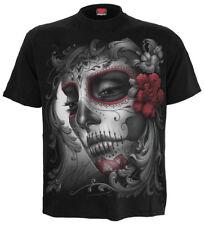 ESPIRAL DIRECTO Calavera Con Rosas Diseño Frontal Camiseta/ Calavera/ Rock /