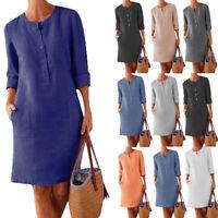 Womens Cotton Linen Shirt Dress Long Sleeve Ladies Button Pocket Midi Sundress