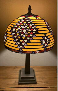 Authentic Tiffany Dome Style Stained Glass Table Lamp Multi Colored