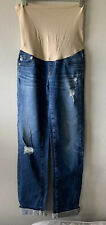 AG Adriano Goldschmied Distressed Crop Maternity Jeans Cuff Medium Wash Size 25