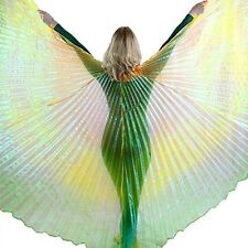 Danzcue Orange-Gold-Green Gradient Belly Dance Worship Angel Wings With Sticks
