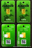 4 GOLDBARREN je 0,10 Gramm 999.99 Gold 24 Karat 4/10g 0,4g Nadir LBMA NEU!!!