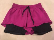 Lululemon 8 Double Layer Shorts Berry With Black Mesh Run Yoga Sports Fitness