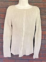 The Limited Sweater Large Beige Cableknit Cotton Blend Crew Neck Long Sleeve Top
