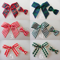 Ribbon Bow/Mini Bow Ties-Tartan/Stripes/Gingham-Red and Green-5.5cm-Christmas