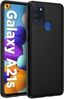 For Samsung Galaxy A21s Case, A217F, Matte Black Shockproof TPU Gel Phone Cover