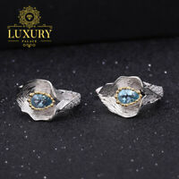 Natural 1.68Ct Swiss Blue Topaz Handmade 925 Silver Callalily Leaf Stud Earrings