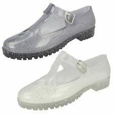 Spot on Ladies T-Bar Jelly Shoe with Cut Out Flower Detail