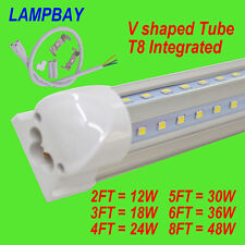 10-Pack V shaped LED Tube T8 Integrated Fixture Lights 2FT.3FT.4FT.5FT.6FT.8FT.