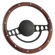 14 Inch Black (3,5,9 Hole) Classic Steering Wheel Mahogany Wood with Aluminum...