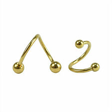 2pcs Stainless Steel Spiral Ear Stud Lip Nose Eyebrow Ring Body Piercing Jewelry