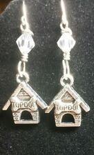 Silver Plated Earring Hooks Dog Lovers Dog House Charm