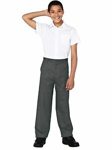 FLAT BOYS REG LEG SCHOOL TROUSERS  AGES 3 4 5 6 7 8 9 10 11 12 13 14 15 16 NEW