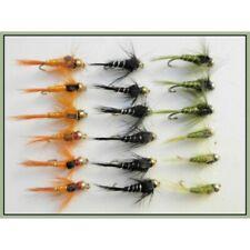 4 x Ally ha Arancione Gamberetti #10 Gancio Doppio Salmone Mosche per pesca a mosca