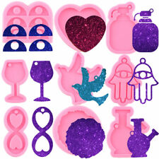 Birds Silicone Keychain Molds Heart Wine Bottle Cup Pendant Epoxy Resin Moulds