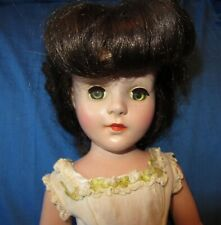 """Beautiful Hard Plastic Vintage Brunette 17"""" Doll ~Tagged Cissy Gown"""
