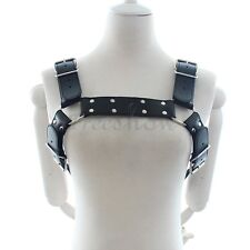 Sexy Men Leather Restrain Chest Strap Half Harness Costume Fancy Dress Clubwear