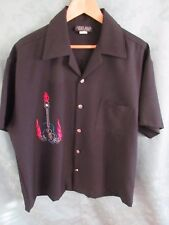 Johnny Suede Dressed To Pimp Shirt Size Large Flaming Guitar Casino Wear