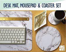 White Marble Desk Mat, Mouse Pad & Coaster Set -Desk Accessory
