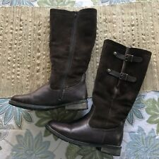 Remonte Womens 38 Brown Suede Leather Boots Shearing Lined Tall Knee Zip