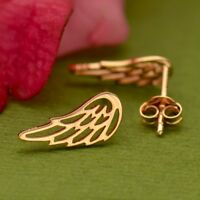 18K Rose Gold Vermeil Openwork Angel Bird Wing Wings Studs Stud Post Earrings