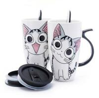 Coffee Mug Cat Style Ceramic Vacuum Tea Cup With Lid And Spoon Creative Gifts