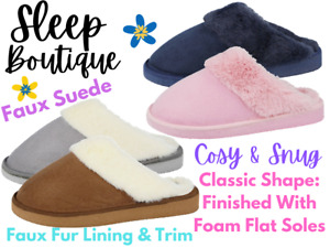 Ladies Faux Suede Fluffy Fur Trim Lined Cosy Slip On Backless Mule Slippers