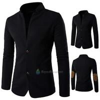 Mens Casual Slim Fit Stylish Formal Collar Button Suit Blazer Coat Jackets Black