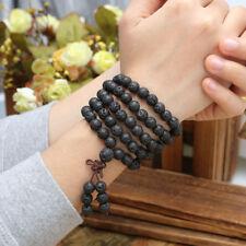 Multi-layer 108 Buddha Beads Natural Lava Rock Stone Gemstone Bracelet Necklace
