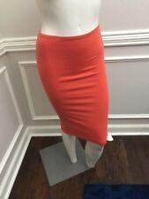 American Apparel Pencil Skirt Stretch Knit Midi Bodycon Watermelon Coral Small