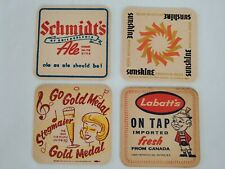 Vintage  Lot of 4 Beer Advertising Drink Bar Coasters Labatts Schmidt's stegmair