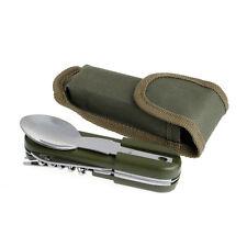 Camping Spoon Fork Bottle Opener Knife Portable Pocket Folding Tableware Tool