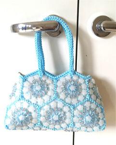 Self-made DIY bag  thread  Crochet Hand bag  bead Messenger Sling Shoulder Bag