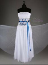 Hand-made High quality Wedding Dress 'Karen' in white/blue, satin/tulle, size14