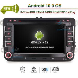 DOPPEL DIN Android 10 DVD Navi Autoradio GPS DAB+für VW Tiguan Touran New Beetle