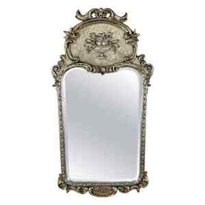 French Louis XVI Style Silver Trumeau Wall or Mantel Mirror